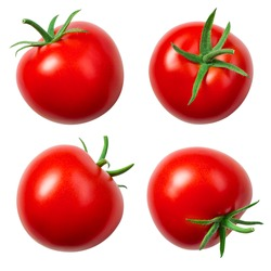 Tomatoes isolated. Whole tomato on white. Tomato with clipping path. Tomato set.