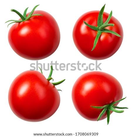 Tomatoes isolated. Whole tomato on white. Tomato with clipping path. Tomato set.