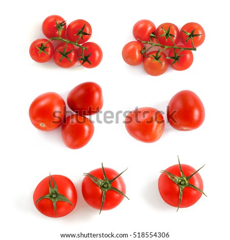 Tomatoes on a white background. View from above. Cherry tomatoes.