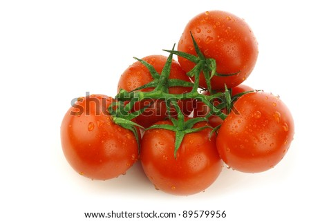 tomatoes on the vine with water droplets on a white background