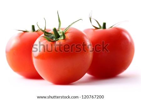 Tomatoes on the white background