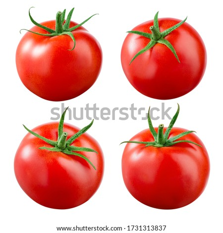 Tomatoes on white background. Tomato isolate. Tomatoes set. Red tomato with green leaf. Tomato with clipping path.