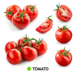 Tomatoes on white background. Tomato isolated. Tomatoes set. Whole, half, cut, sliced tomatoes. Tomato on branch.