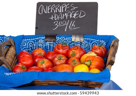 Tomatoes Over Ripe & Damaged for Sale at Farmers Market - Isolated on White Background - stock photo