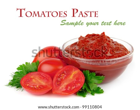 Tomatoes paste with greens