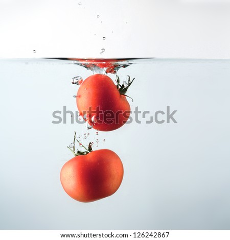 Tomatoes splashing water - stock photo