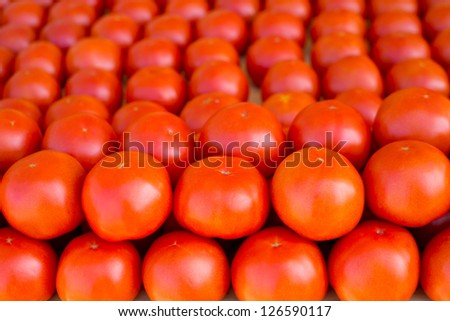 tomatoes vegetables stacked in a row on market display