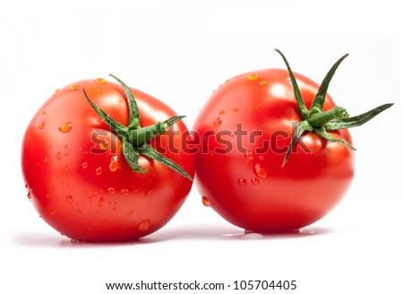 Tomatoes with a light shadows, isolated on white background