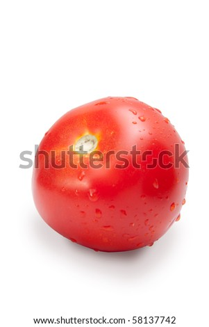 tomatoes with drops of moisture cut on a white background