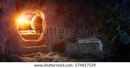Tomb Empty With Crucifixion At Sunrise - Resurrection Of Jesus  #574817539