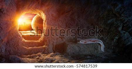 Tomb Empty With Crucifixion At Sunrise - Resurrection Of Jesus
