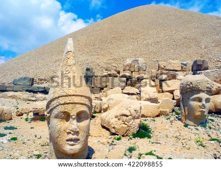 Tomb of Antiochus I Theos of Commagene on the mountain Mount Nemrut in Turkey.