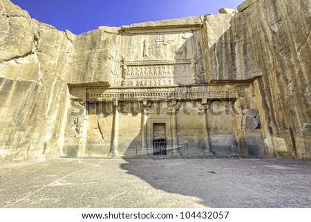 Tomb of Artaxerxes III at Persepolis in north of Shiraz, Iran. Persepolis has led to its designation as a UNESCO World Heritage Site.
