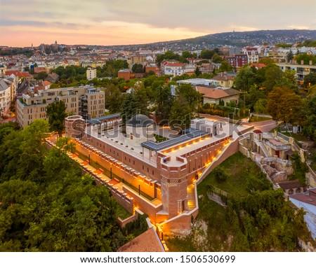 Tomb of Gul baba in budapest. Turkish memorial monument. Hungary, Budapest. Gül baba türbéje. Europe, Hungary, Budapest Stok fotoğraf ©