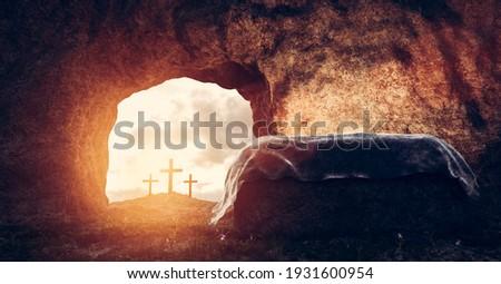 Tomb of Jesus Christ. Crucifixion And Resurrection. Religion, Easter theme. 3D illustration Stockfoto ©