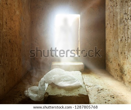 Tomb of jesus : Jesus Christ is Risen : Easter Day : Details of Jesus Christ's Resurrection : Surrealism Background  #1287805768