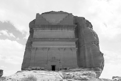 Tomb of Lihyan son of Kuza, known as Qasr AlFarid, the most iconic tomb in AlUla in the region of Mada'in Saleh, Saudi Arabia
