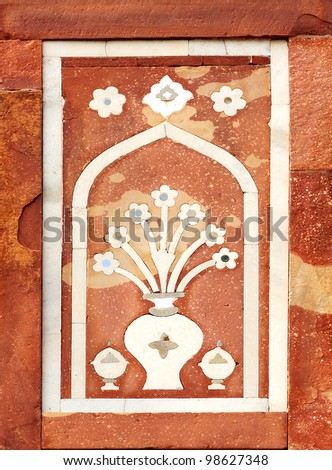 Tomb of the treasurer of emperor. Agra, India. Details of marble surface with stone inlay.
