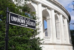 Tomb of the Unknown Soldier sign at Arlington National Cemetary