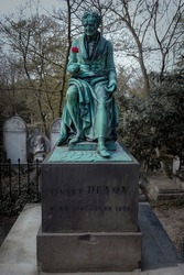 Tomb of Vivant Denon with a red rose, Pierre-Lachaise cemetery
