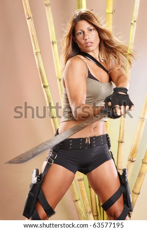 Tomb raider swings a machete