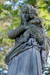 Tomb sculpture of mother and child of Lychakiv cemetery in Lviv Ukraine