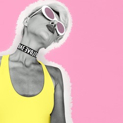 Tomboy Party Girl in fashion accessories sunglasses and chokers. Collage art