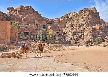 tombs and carved structures in Petra, Jordan. Note Camel shaped mountain tops