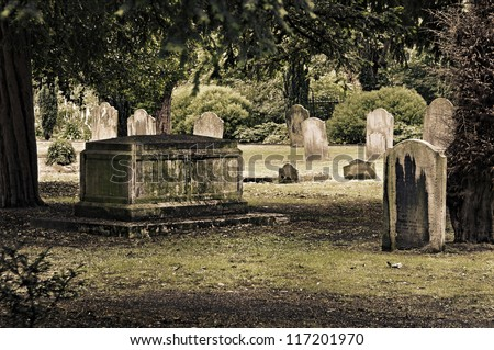 Tombs in an English cemetery