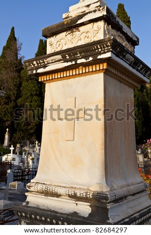 Tombstone from the cemetery of Drapano at Kefalonia island in Greece