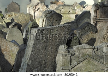 Tombstones at the Jewish Cemetery in Prague, Czech Republic