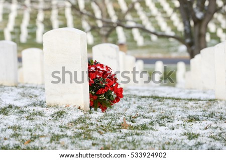 Tombstones in Arlington National Cemetery in Winter - Near to Washington D.C.