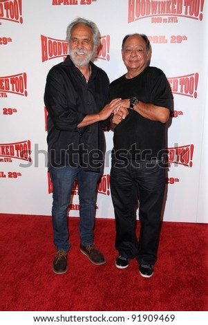 """Tommy Chong and Cheech Marin at the """"Hoodwinked Too"""" World Premiere, Pacific Theaters at the Grove, Los Angeles, CA 04-16-11 - stock photo"""