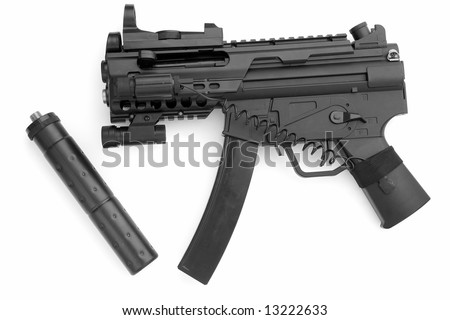 tommy gun. submachine gun with a silencer on a white background