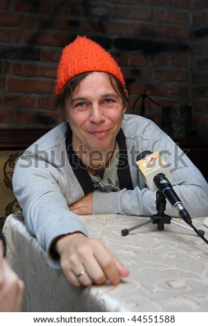"TOMSK, RUSSIA - FEBRUARY 23: Ilya Lagutenko - russian singer, frontman of pop-rock group ""Mumiy Troll"" in a night club ""Teatro"", February 23, 2009 in Tomsk, Russia."