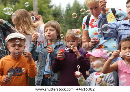 "TOMSK, RUSSIA - JULY 25: Festival ""Bubbles"", organized by the Foundation for Children with blood cancer ""Fund Alena Petrova"" in city garden, July 25, 2009 in Tomsk, Russia."