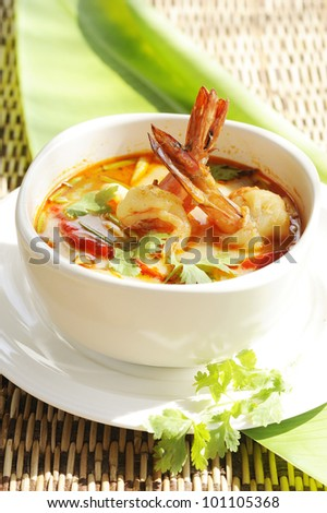 TomYum Goong - Thai Hot and Spicy Soup with Shrimp - Red Curry with Shrimp - thai soup tom yum