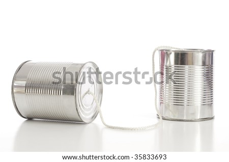 ton can phone showing business communication concept
