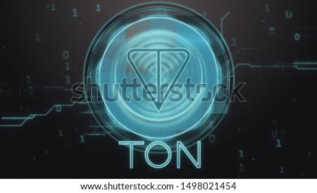 Ton cryptocurrency symbol. Hi-tech futuristic background illustration. Stok fotoğraf ©