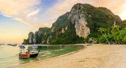 Ton Sai Beach in paradise Bay - Koh Phi Phi Don Island at Krabi, Thailand - Tropical travel destination