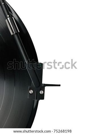 Tonearm on vinyl LP and black green dot pickup headshell, isolated hi-fi record player tone arm macro closeup