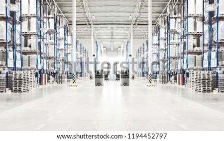 Toned collage of typical storage, warehouse interior. Selective focus. Copy space.
