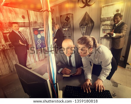 Toned image of businesspeople trying to get out of escape room stylized under laboratory. Concept of finding business solutions