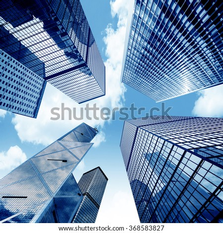 Toned image of modern office buildings in central Hong Kong. #368583827