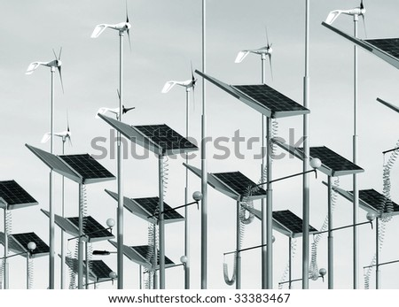 Toned image of wind generators and solar panels
