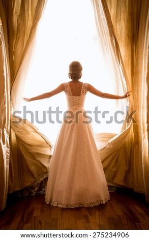 toned photo of beautiful bride...