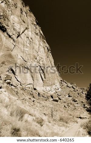 Toned photo of Smith Rock State Park, near Bend, Oregon, USA - stock photo