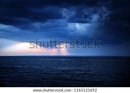 Toned Photo of Summer Landscape of the Sea and Sunset