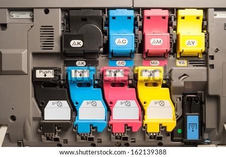 Toner cartridges of a color laser printer