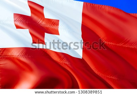 Tonga flag. 3D Waving flag design. The national symbol of Tonga, 3D rendering. National colors and National flag of Tonga for a background. Oceania sign on smooth silk